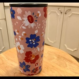 Pink Floral Double Wall Metal Tumbler